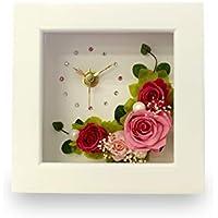 プリザーブドフラワー IPFA フレームの時計 [ピンク&ピンク] お祝い/ギフト/バラ/花/プレゼント/記念日/母の日/退職祝い/結婚祝い
