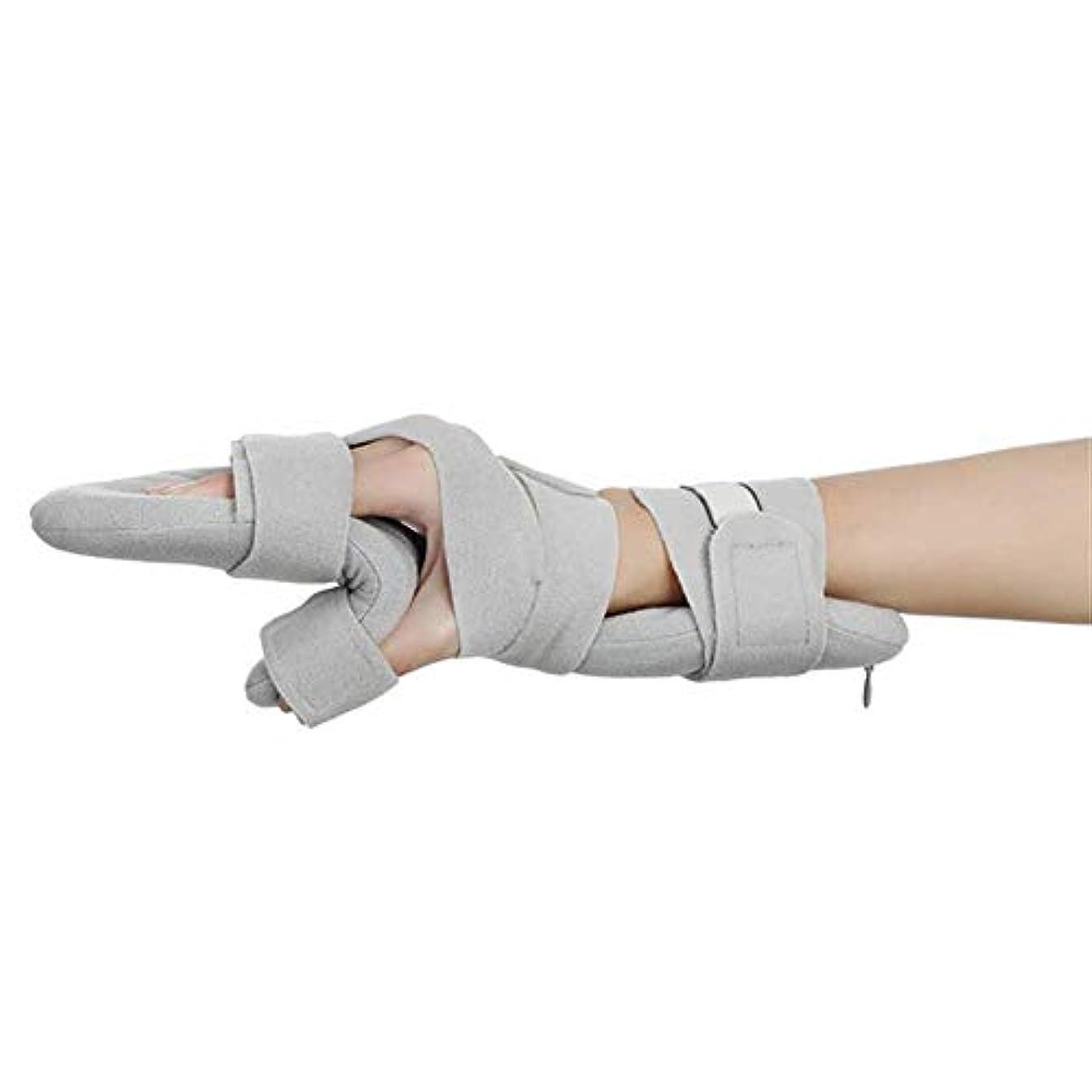 ずんぐりした振り返る肉腫指のけいれんや萎縮の柔らかい機能的な安静時の手の副木のための指の装具、両手のサポート多目的調節可能 (Color : Left)