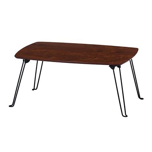 不二貿易 ローテーブル 折りたたみテーブル 幅70cm 奥行50cm 高さ31cm ミディアムブラウン 15236