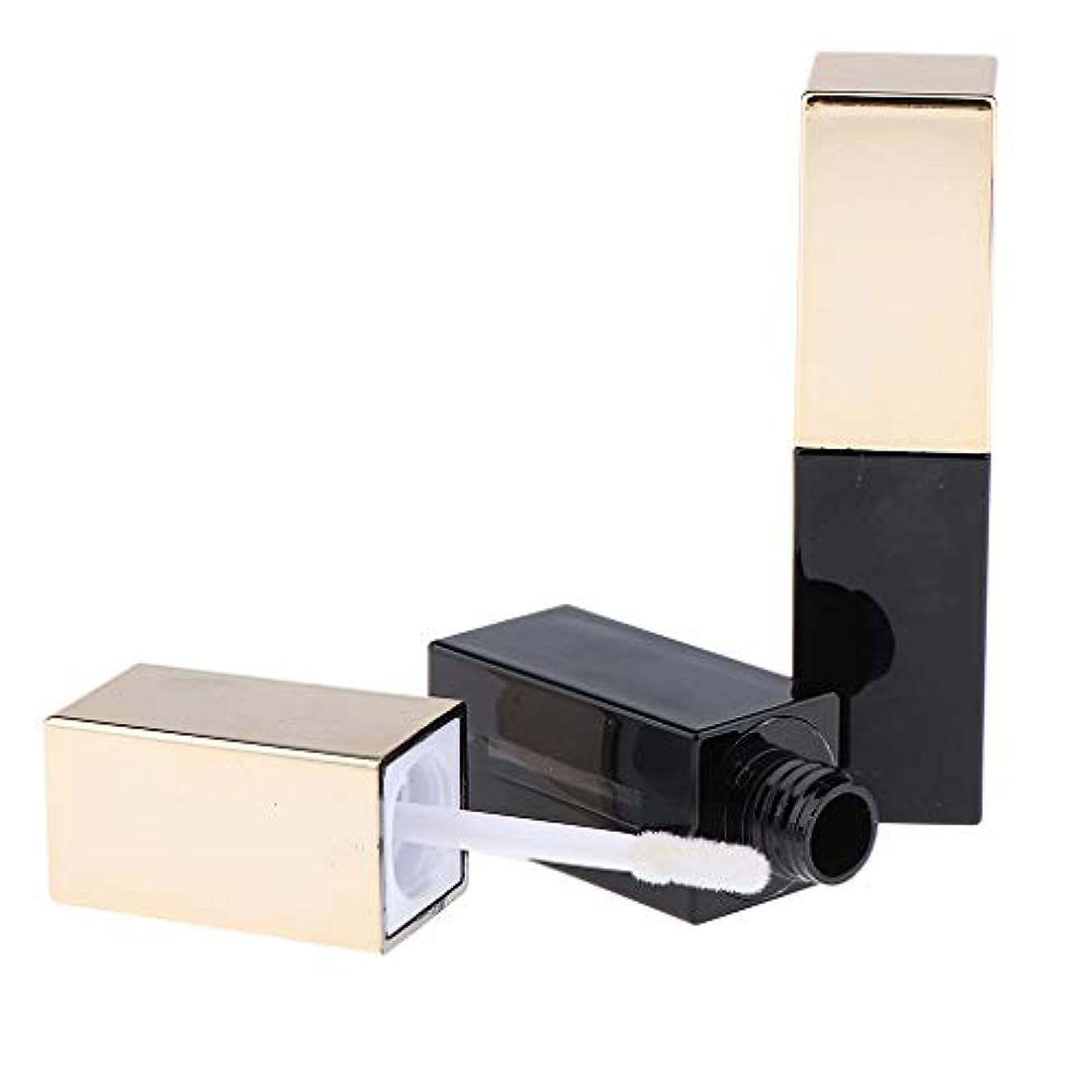 操る否定するモネF Fityle 2本 リップグロスチューブ 空チューブ リップグロス 容器 DIYツール 4タイプ選べ - C06ゴールデンブラック