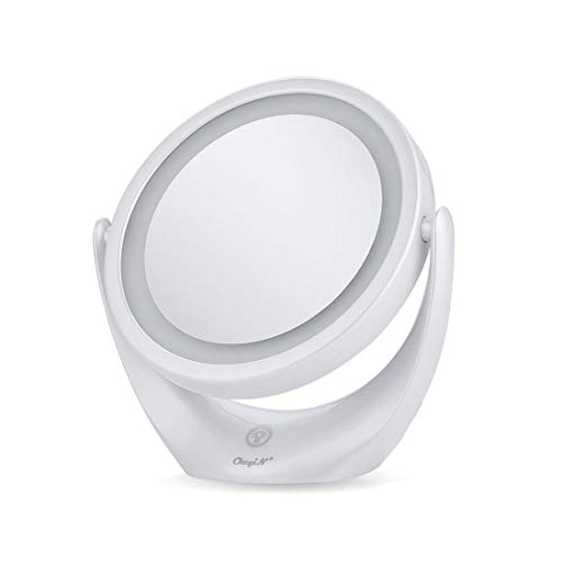 くしゃみ飼料ブースト卓上ミラー 化粧鏡 スタンドミラー 鏡 両面鏡 浴室鏡 メイクミラー led付き 充電式 1倍/5倍拡大鏡 明るさ調節 360度回転
