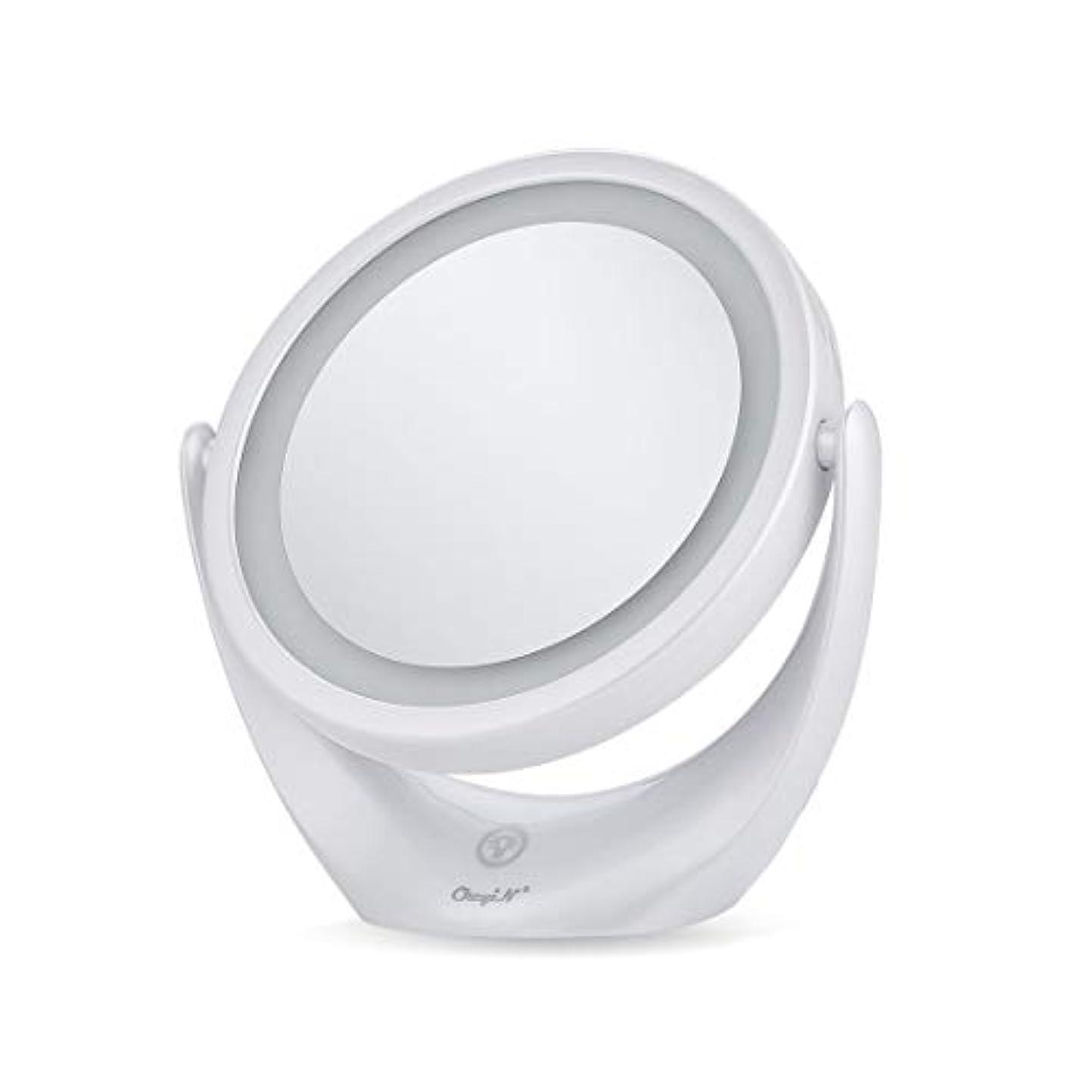 断言する覚醒雄大な卓上ミラー 化粧鏡 スタンドミラー 鏡 両面鏡 浴室鏡 メイクミラー led付き 充電式 1倍/5倍拡大鏡 明るさ調節 360度回転