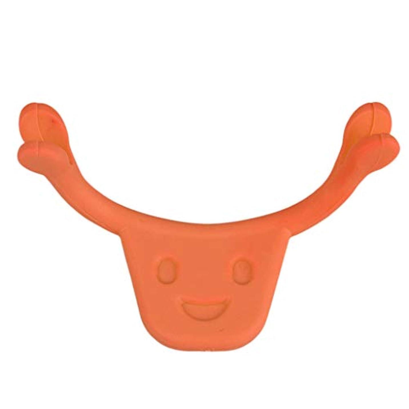 置換キャリア振動させるsharprepublic 口角を上げるグッズ 表情筋 トレーニング 笑顔 二重あご 消す 小顔 ストレッチ 小顔矯正 全2色 - オレンジ