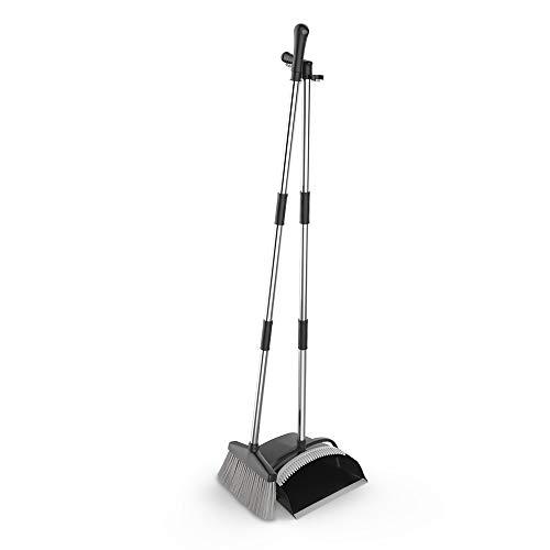 URARA LIFE 掃除セット 新型のほうき&ちりとりセット 延長可能 長柄120cm 腰を曲げずに掃除可能 収納に便利 ブラック