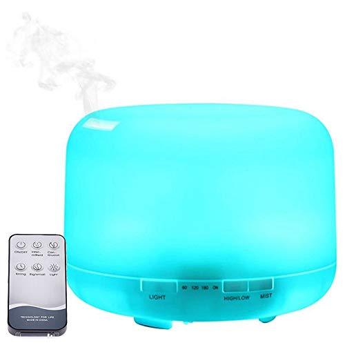 アロマディフューザー 超音波式 加湿器 リモコン 7色変換LED搭載 空焚き防止 静音 日本語説明書 500ML