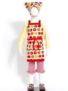 三角巾付き 子ども エプロン身長100-120cmサイズ 【おしゃれリンゴのひみつ(アイボリー)】 日本製 N1223740