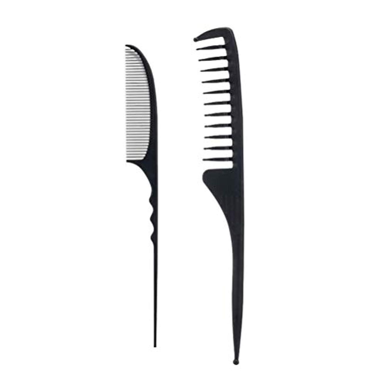 描く大腿ルーLurrose 2ピースサロンコームヘアー理髪櫛かみそりコーム理髪櫛スタイリングヘアコーム付きファインテールラフィングテール