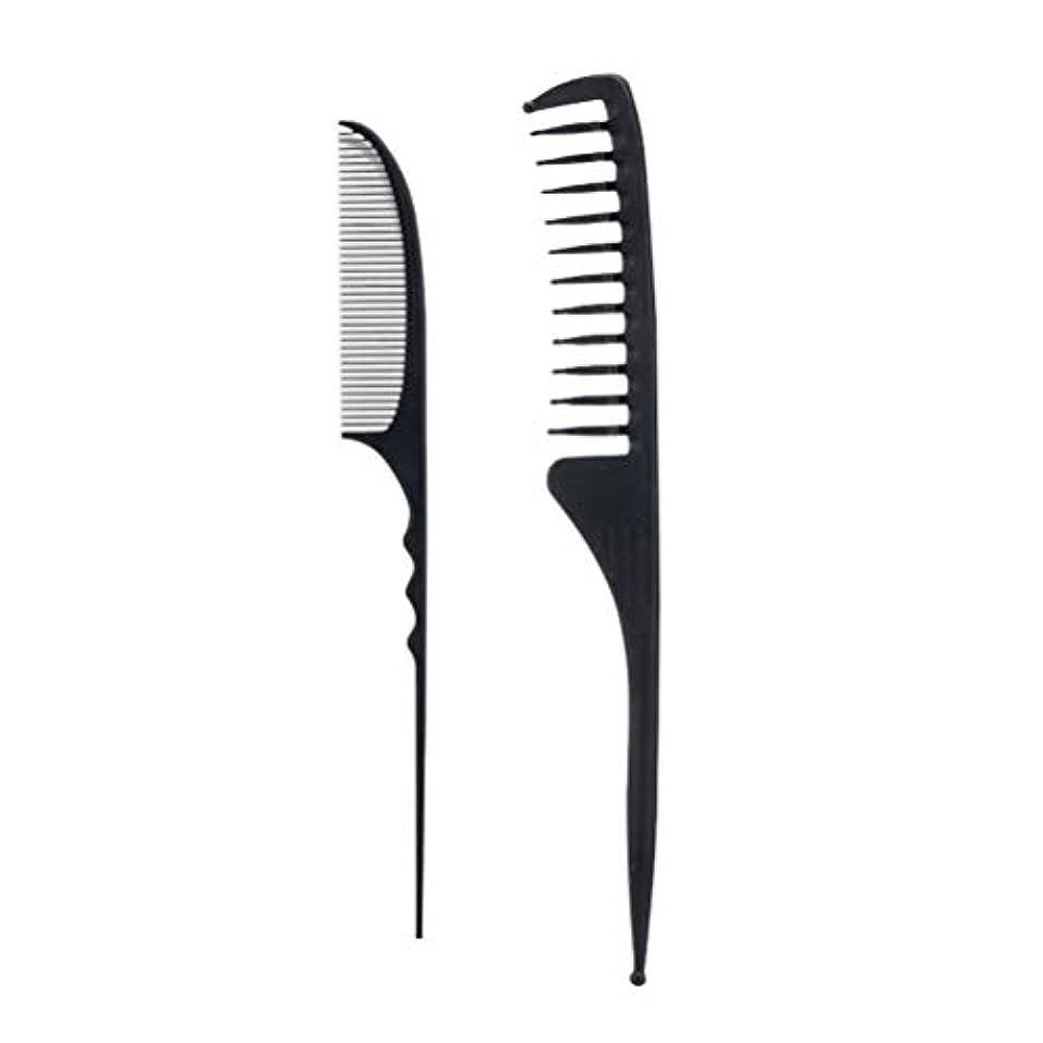 組立原理シェアLurrose 2ピースサロンコームヘアー理髪櫛かみそりコーム理髪櫛スタイリングヘアコーム付きファインテールラフィングテール