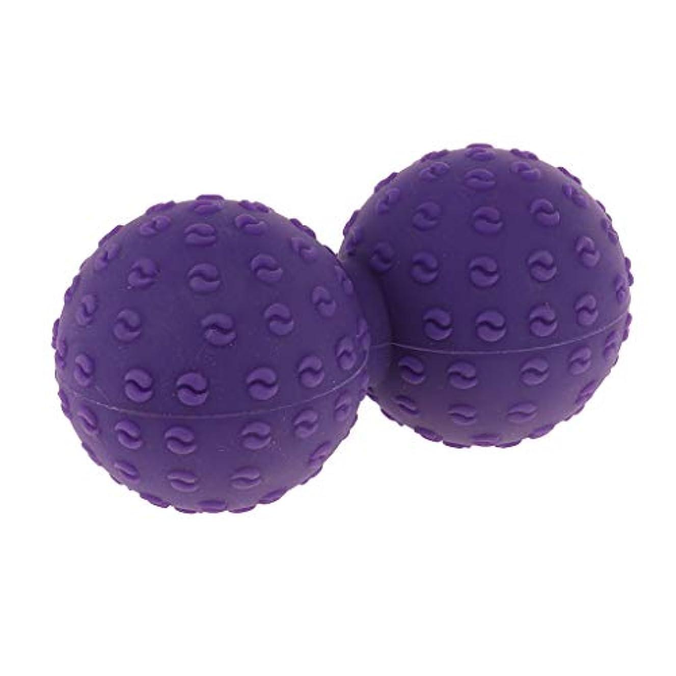 振るう読みやすい作成するシリコンマッサージボール 指圧ボール ピーナッツ トリガーポイント ツボ押しグッズ ヨガ 全6色 - 紫, 説明のとおり