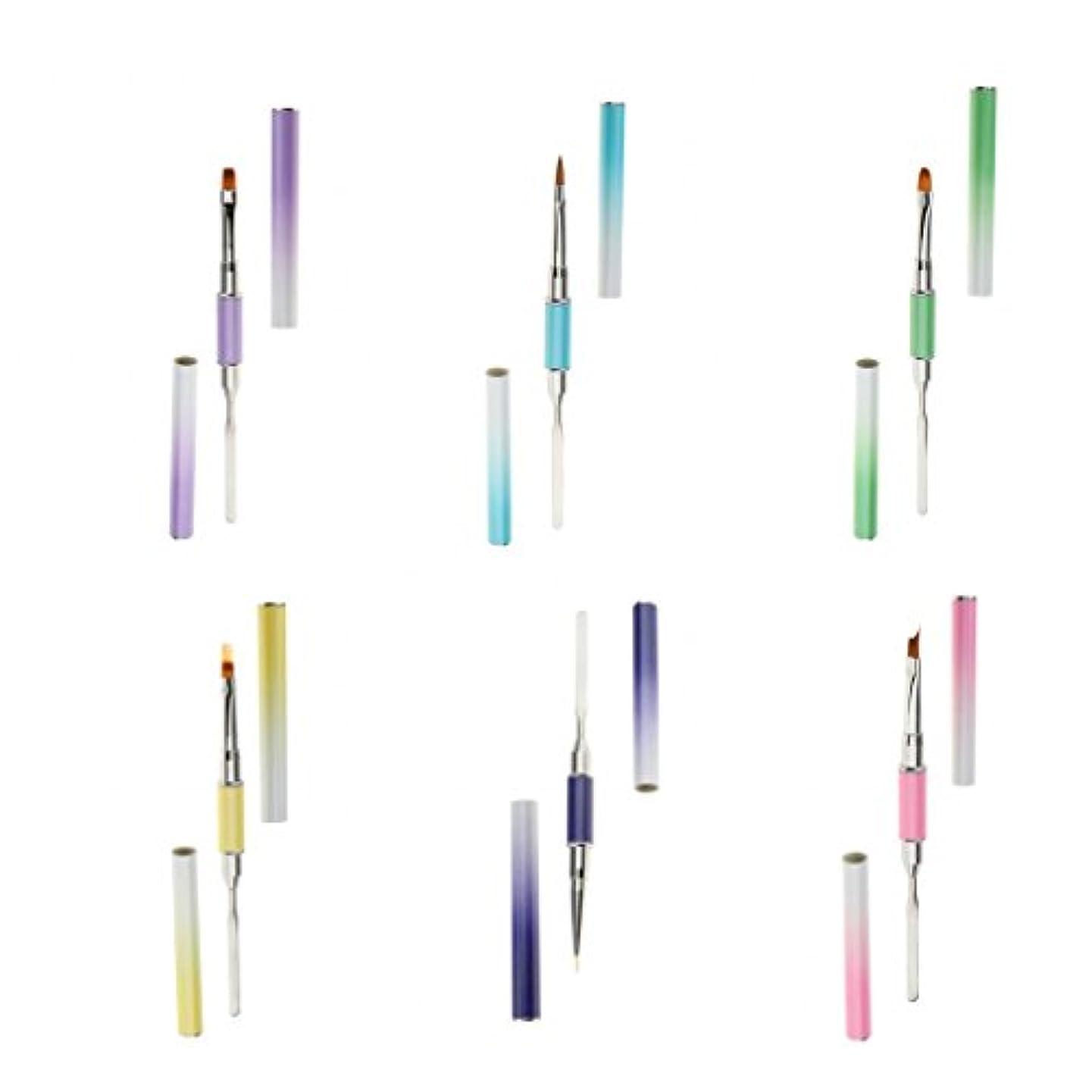 モスク三十存在Toygogo 6サイズのネイルアート装飾デュアルヘッドペン、ネイルUVジェルライナー描画ペイントブラシ、マニキュアポリッシュツール