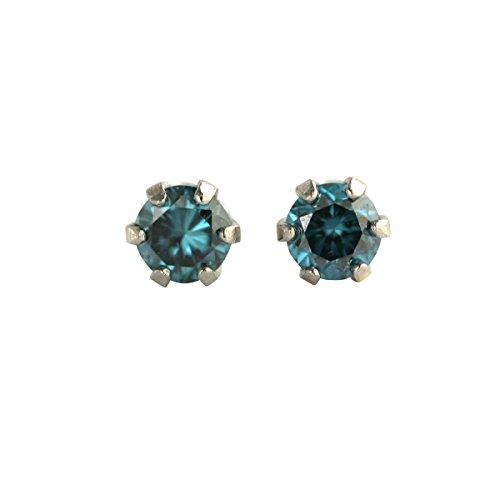 【 DIAMOND WORLD 】レディース ジュエリー PT900 ブルーダイヤモンド ピアス 0.12ct 6本爪タイプ