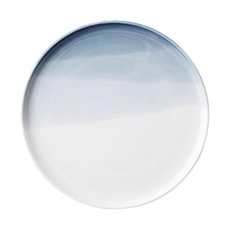 プレートディスクケーキデザートプレート、ホームグラジエントフラットプレート西洋料理、キッチンスナック冷たい料理セット (Color : Gray, Size : 19.5.*19.5*1.8cm)