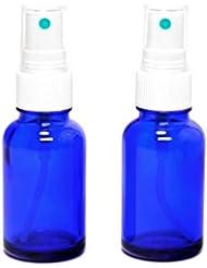 遮光瓶 蓄圧式で細かいミストのスプレーボトル 30ml コバルトブルー / ( 硝子製?アトマイザー )ブラックヘッド × 2本セット / アロマスプレー用