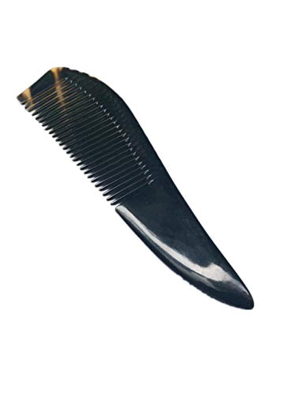 電話する確立スマイルヘアコームナチュラルバッファローホーン櫛手作り抗静的ファイン歯ビアードくしショートハンドル