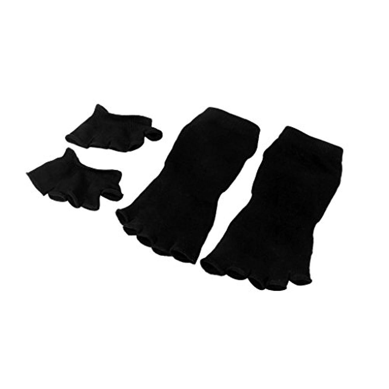 強調小麦粉ポーチ【Footful】ソックス 靴下 5本指つま先ソックス+爽快指の間カバー 4枚組 黒