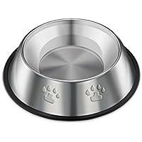 Gespout ペットボウル 食器 犬猫用 食器 皿 餌いれ ステンレス製 小動物用食器 ダブルフードボウル ステンレス製ボウル 滑り止め こぼれ防止 Lサイズ ベージュ 足跡柄