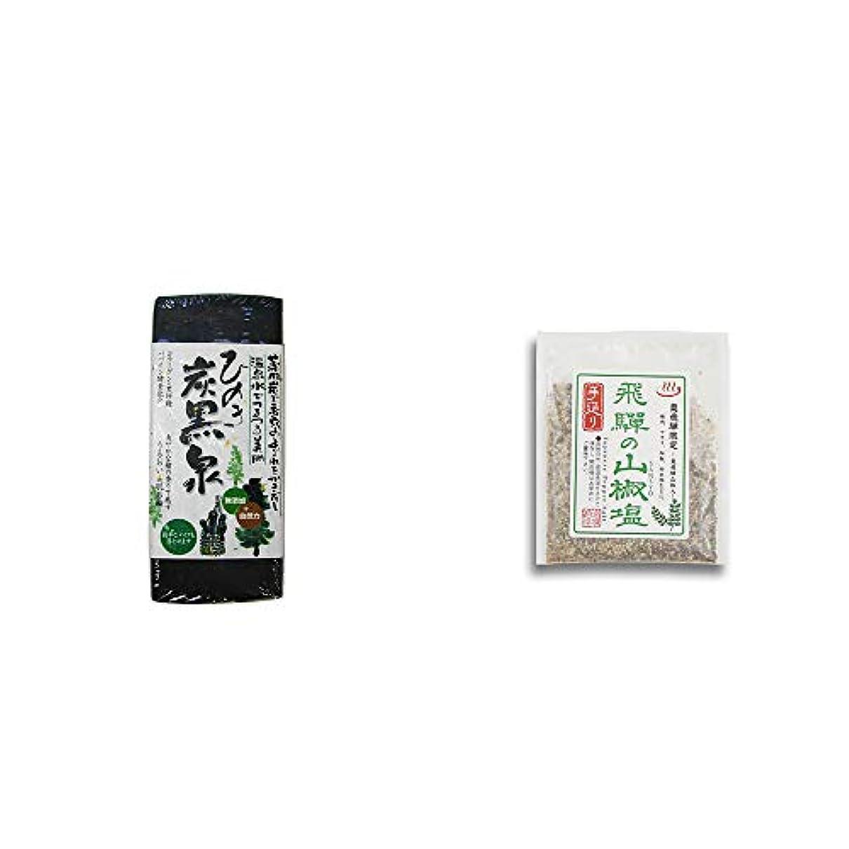 洗剤ガラガラ最大限[2点セット] ひのき炭黒泉(75g×2)?手造り 飛騨の山椒塩(40g)