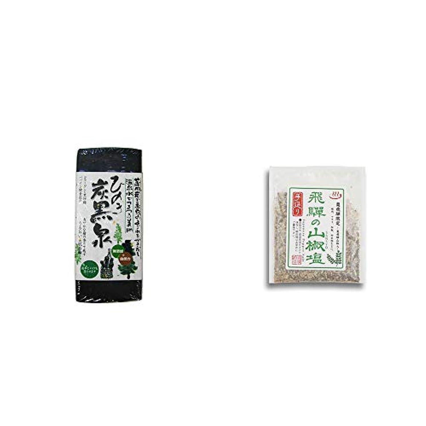 突然の下向き粗い[2点セット] ひのき炭黒泉(75g×2)?手造り 飛騨の山椒塩(40g)