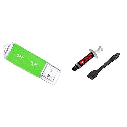シリコンパワー USBメモリ 64GB USB3.1 & USB3.0 ヘアライン仕上げ 永久保証 Blaze B02 グリーン SP064GBUF3B02V1NJB & ドイツ Thermal Grizzly社製 オーバークロック用特別設計高性能熱伝導グリス Kryonaut 1g