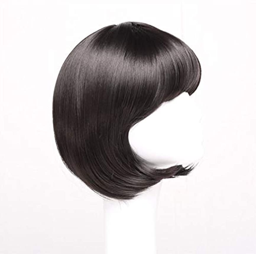 上追放するロータリー女性かつらショートボブ波状マイクロ巻き毛合成毎日パーティーかつらとして本物の髪+無料かつらキャップ