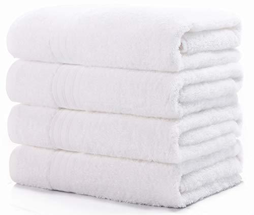 100% 綿 4枚 ホテルスタイル バスタオル 白 セット タオル コットン 人気 安い ふわふわ 抜群の肌触り 吸水抜群
