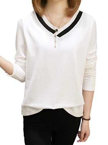 [ルキアード] vネック カットソー 長袖 tシャツ モノトーン カジュアル シンプル キレイメ 白 黒 M ~ XL レディース