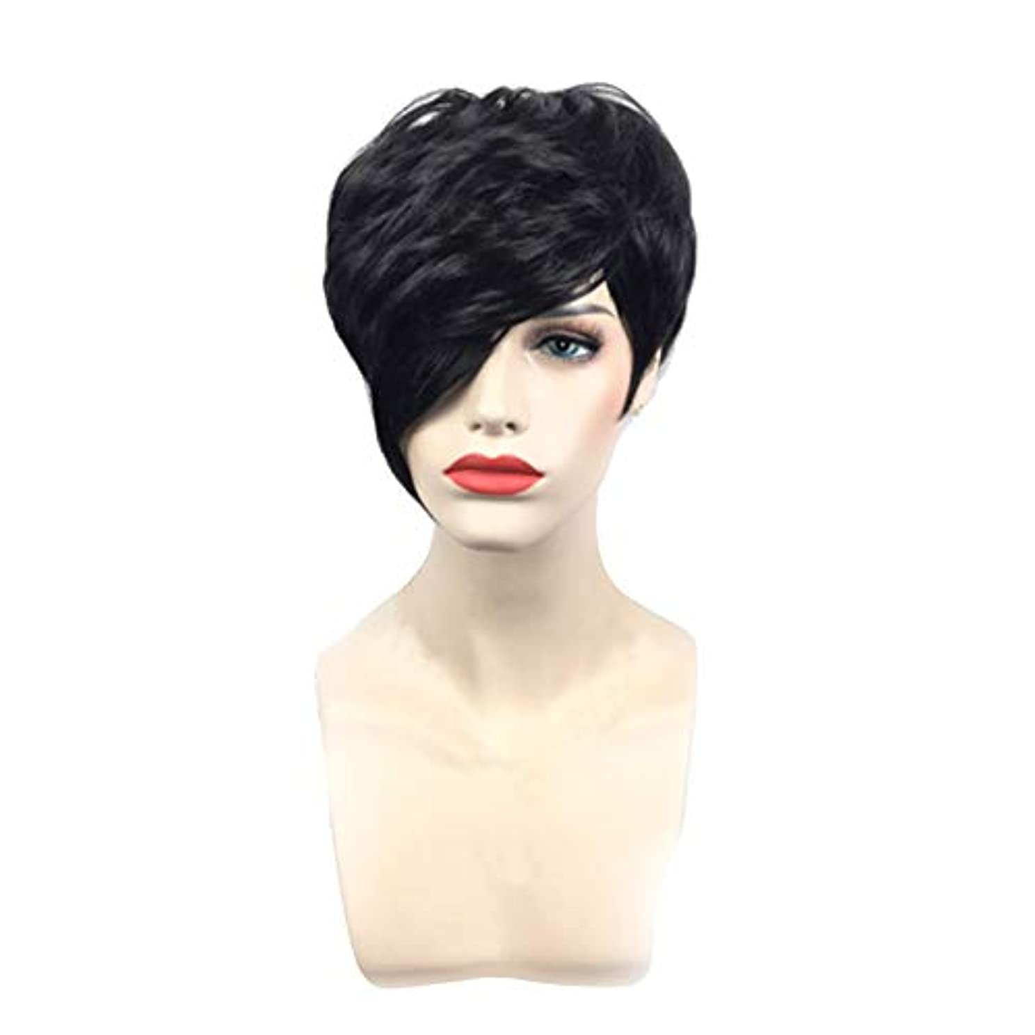 チャペル懸念マスタード黒の短いストレートヘアフルウィッグファッションコス小道具かつら