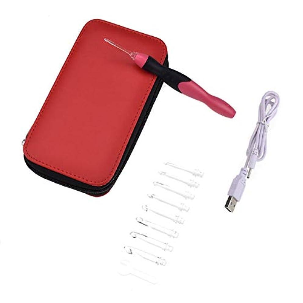 吸い込む時系列有効Saikogoods USB充電式 ライトアップかぎ針編みのフックセット 収納袋付き9つの交換可能チップ LEDニッティング ソーイングクラフトツール 赤 黒