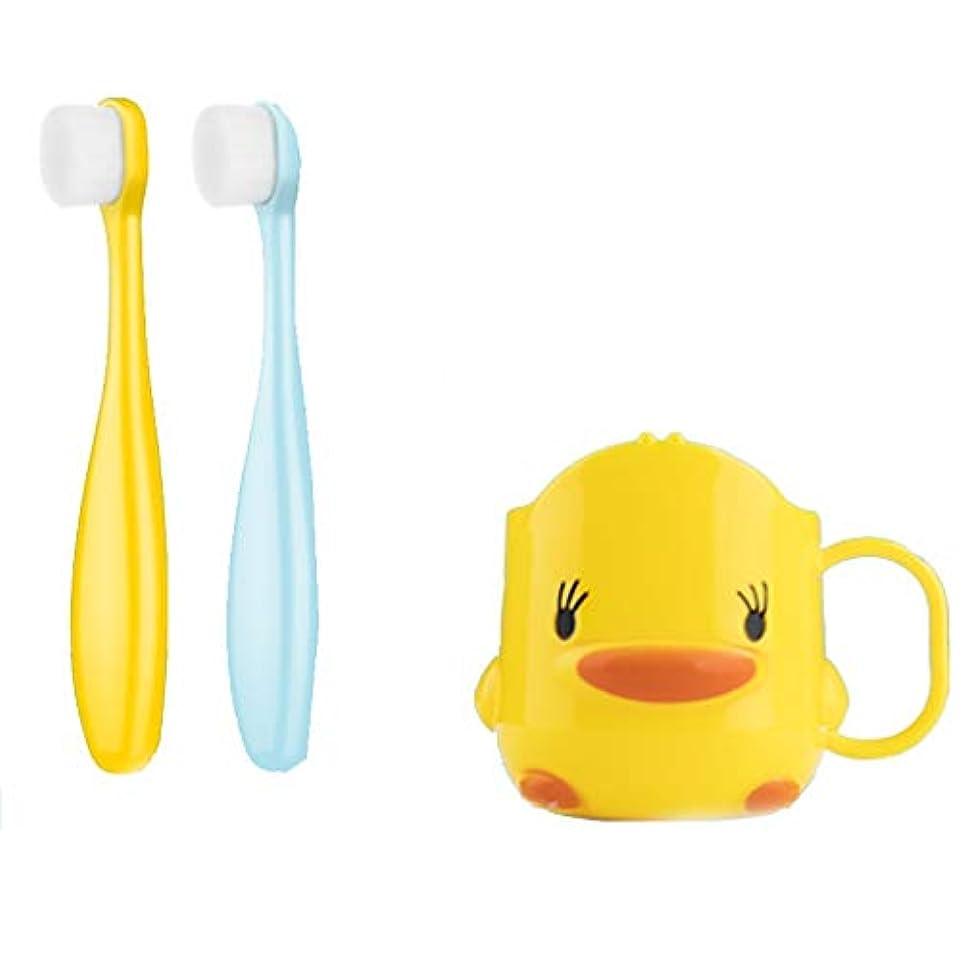 マイクロ寓話一生子供用歯ブラシ、スーパーソフトヘア、嚥下可能、トゥースガード、個別包装