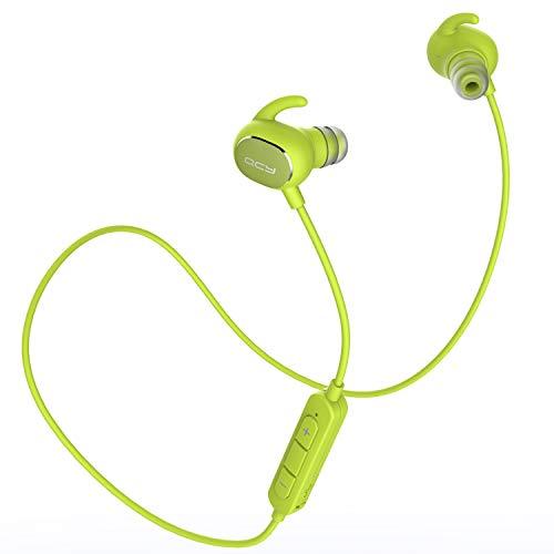 QCY QY19 Bluetooth イヤホン AAC aptX 高音質コーデック対応 IP64 防汗防水 ノイズキャンセル ブルートゥース 4.1 ワイヤレス イヤホン マイク ハンズフリー 通話 グリーン QCY-QY19GR