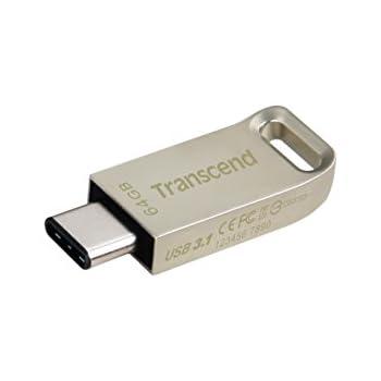 Transcend USB-C OTG メモリ 64GB USB3.1 & USB 3.0 Type-C スマートフォン&タブレット 対応 シルバー TS64GJF850S
