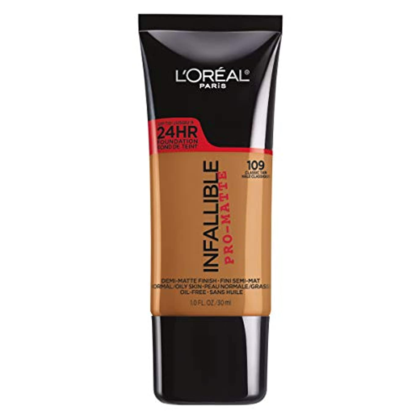 所属ローストかんがいL'Oreal Paris Infallible Pro-Matte Foundation Makeup, 109 Classic Tan, 1 fl. oz[並行輸入品]