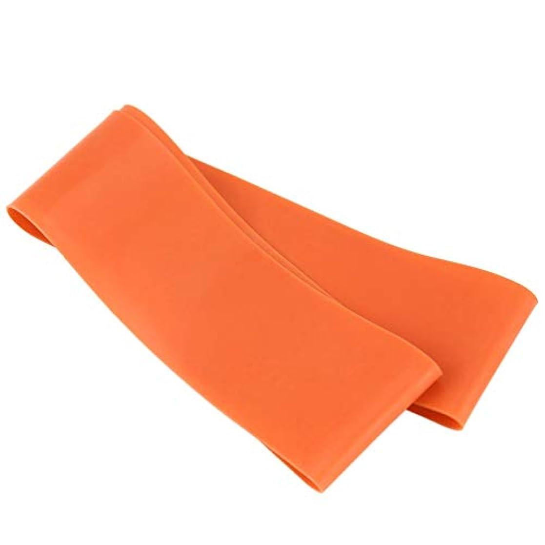 篭狐ケイ素滑り止めの伸縮性のあるゴム製伸縮性がある伸縮性があるヨガベルトバンド引きロープの張力抵抗バンドループ強度のためのフィットネスヨガツール - オレンジ