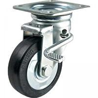 ナンシン 産業用キャスター 自在φ100ゴム車輪 ストッパー付き(ベアリング入り) STM-100 VS W-3R(H)
