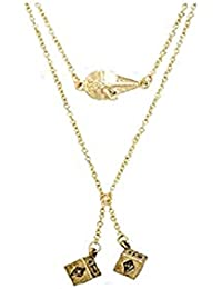 Officially Licensed Star Wars, Millennium Falcon & Dice Layered Pendant Necklace - Gold Tone Chains Stainless Steel Artwork