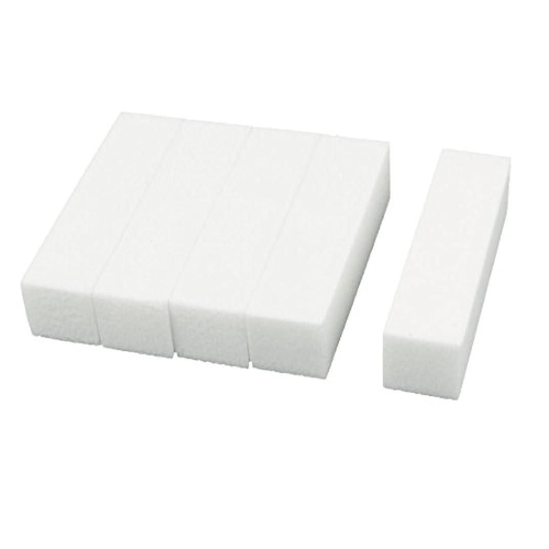 アクチュエータスタウト魅惑するuxcell ネイルファイル サンディングブロック ヒント マニキュアツール バッファ ホワイト 4ウェイ 5個セット