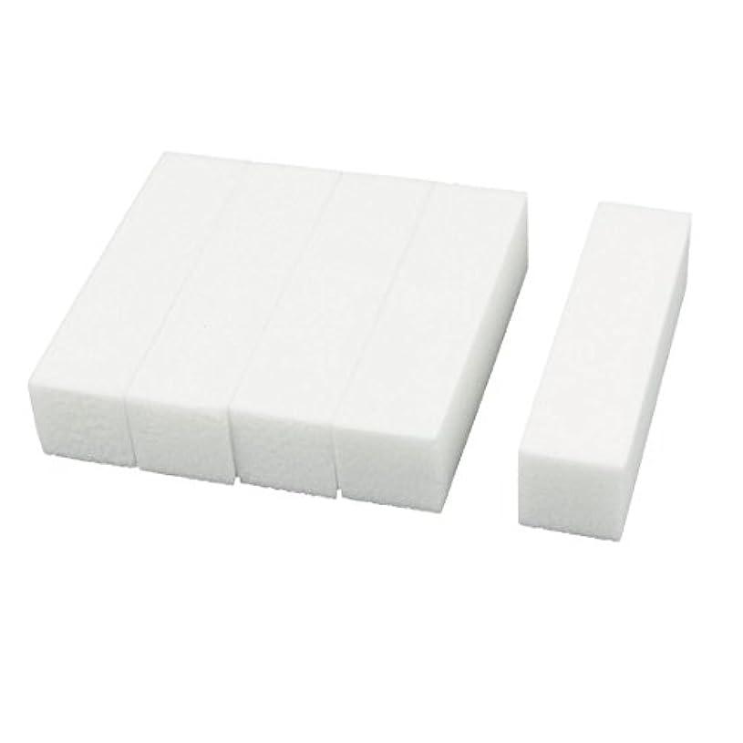 国際存在する申し込むuxcell ネイルファイル サンディングブロック ヒント マニキュアツール バッファ ホワイト 4ウェイ 5個セット