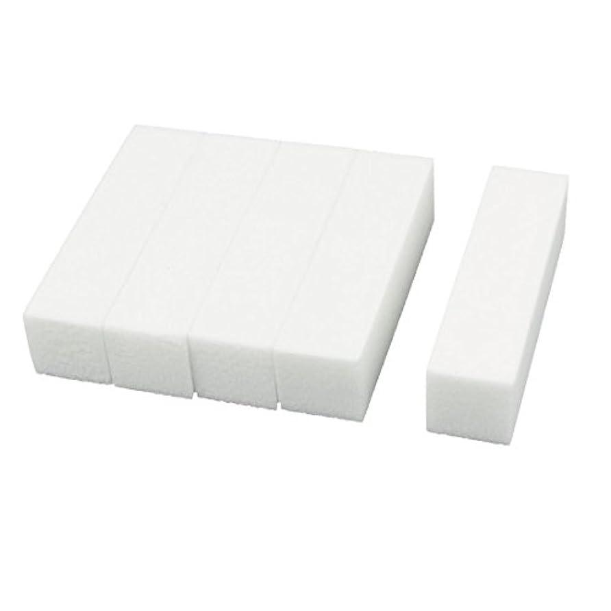 翻訳干ばつブリークuxcell ネイルファイル サンディングブロック ヒント マニキュアツール バッファ ホワイト 4ウェイ 5個セット