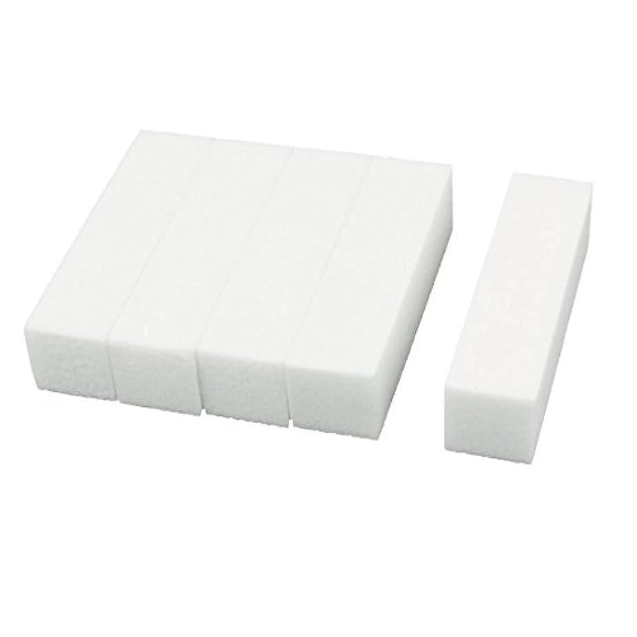 キロメートル会話塊uxcell ネイルファイル サンディングブロック ヒント マニキュアツール バッファ ホワイト 4ウェイ 5個セット