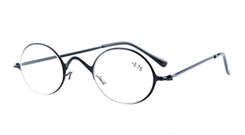 アイキーパー(Eyekepper)読書用 ステンレススチールフレーム ヴィンテージ風 メンズ レディース リーディンググラス シニアグラス 老眼鏡 ケース&クロス付 (+2.25, ブラック)