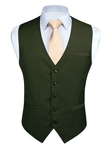 Enlision ベスト メンズ フォーマル スーツ ベスト ダークグリーン 光沢 5ボダン 2ポケット スリム Vネック 尾錠付き ビジネス 結婚式 チョッキ 紳士