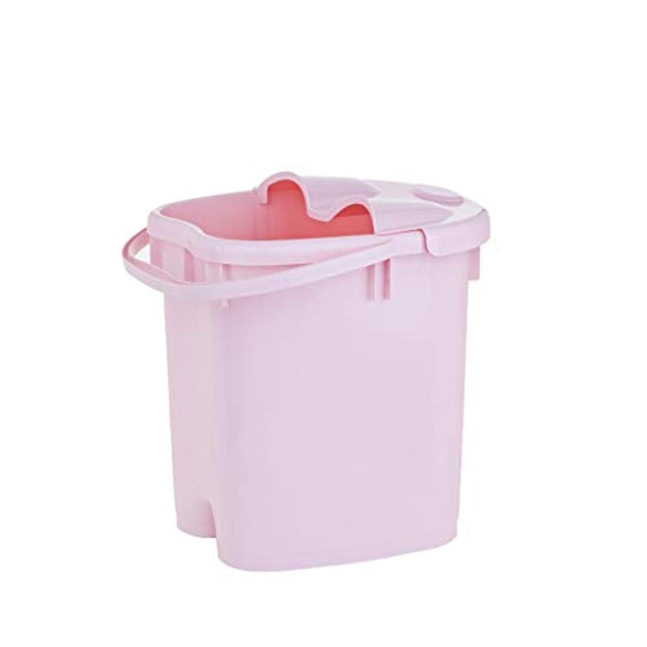 男やもめ反乱スリラーフットバスバレル- ?AMT携帯用高まりのマッサージの浴槽のふたの熱保存のフィートの洗面器の世帯が付いている大人のフットバスのバケツ Relax foot (色 : Pink, サイズ さいず : 39cm high)