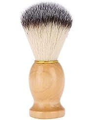 シェービングブラシ 髭剃りブラシ 木製ハンドル+繊維毛 泡立て ひげ剃りツール メンズ理容ブラシ