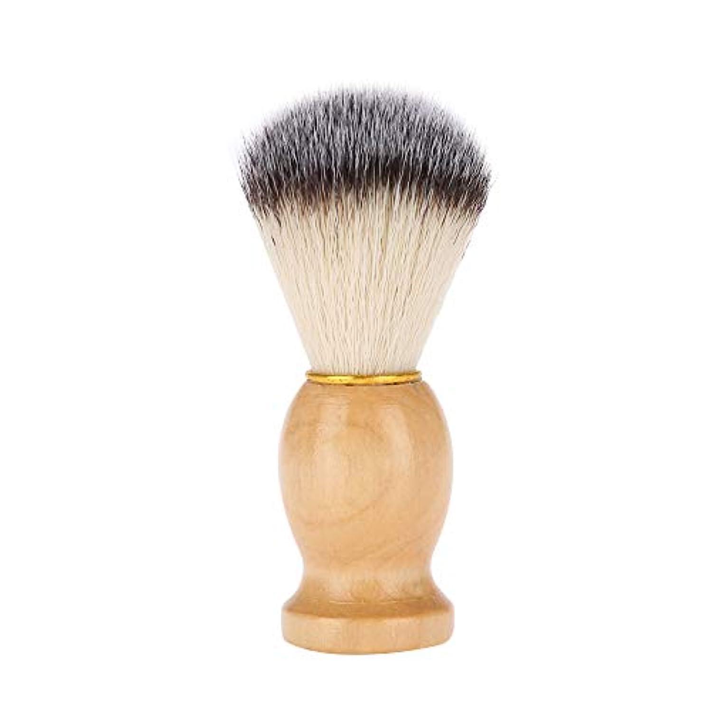 オン乱れ好意的シェービングブラシ 髭剃りブラシ 木製ハンドル+繊維毛 泡立て ひげ剃りツール メンズ理容ブラシ