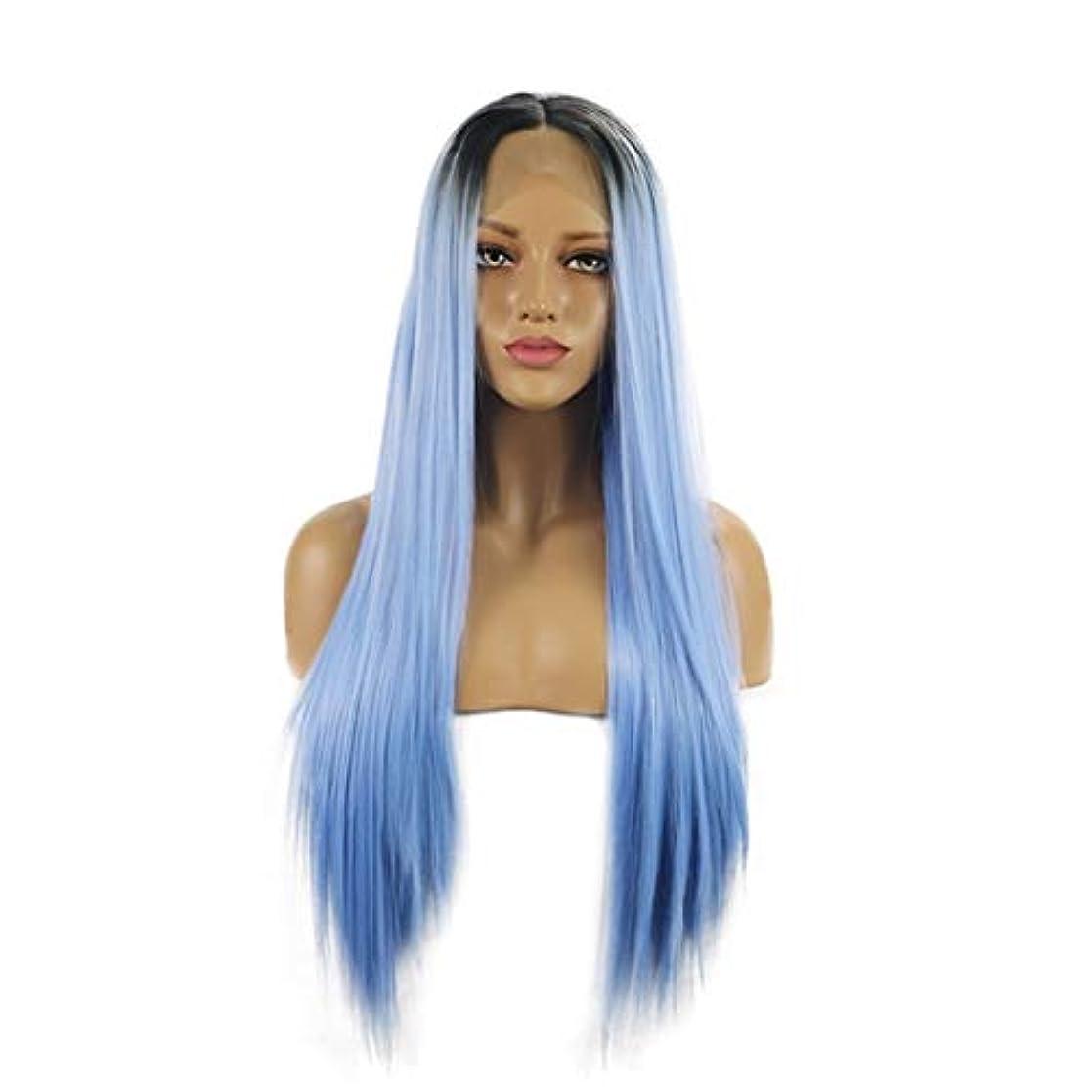 人種ラボキッチンKoloeplf 耐熱性の自然な女性のための長いまっすぐな総合的な毛のレースの前部かつら (Size : 26inch)