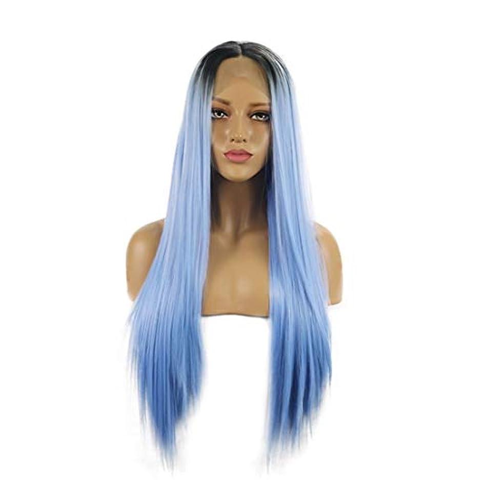 特派員注入主Koloeplf 耐熱性の自然な女性のための長いまっすぐな総合的な毛のレースの前部かつら (Size : 26inch)