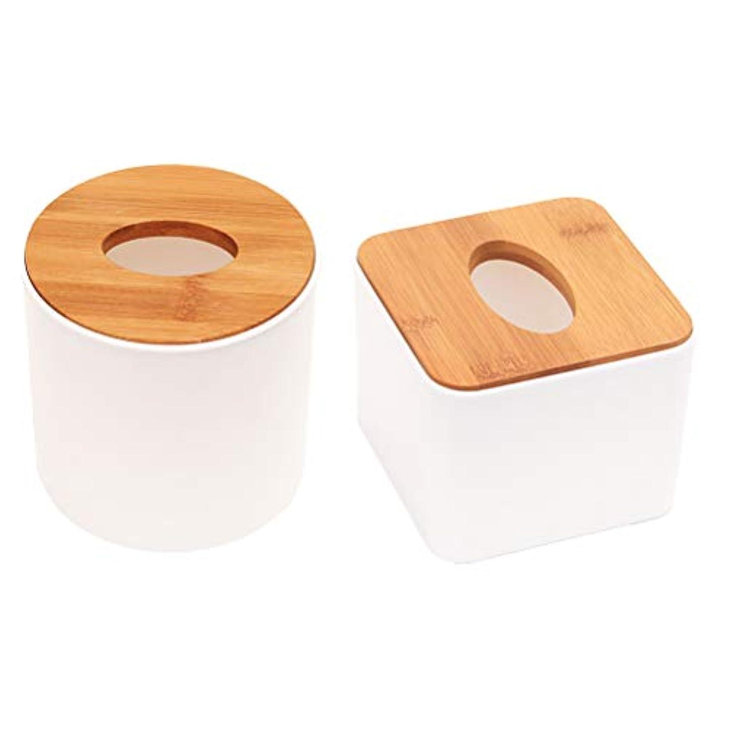 TOPBATHY 2ピースティッシュボックスカバーラウンドスクエア形状木製ティッシュペーパーカバーホルダー用浴室寝室デスクテーブル車