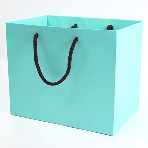 みこと 引き出物袋 結婚式 手提げ紙袋 10枚セット マチ広 ヒスイ色 (中)