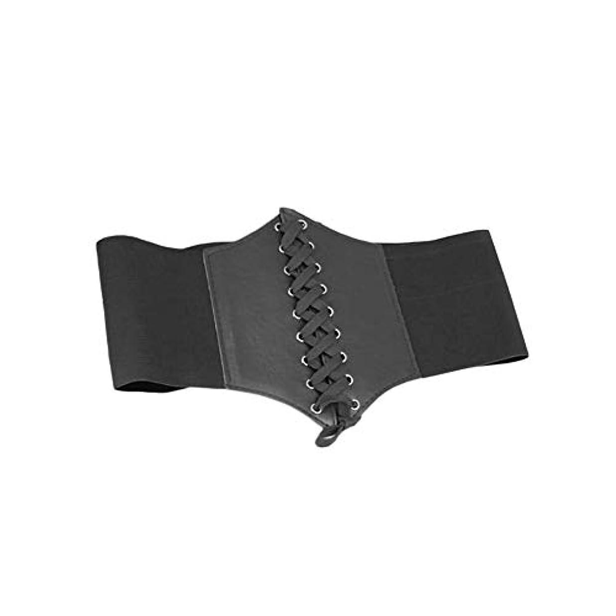 女性ヴィンテージソリッドベルトウエストニッパーレースアップコルセット包帯ハイストレッチ調節可能なネクタイワイドウエストバンド用女性 - 黒