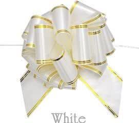 PLATA (プラタ)【 5本 セット/ホワイト 】 ワンタッチ リボン ラッピング 用 ライン 入り 10cm